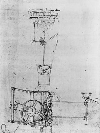 Da Vinci's design for mechanical turnspits, late 15th century.