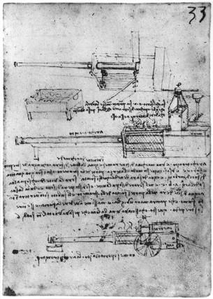Da Vinci's design for a steam gun, late 15th century.