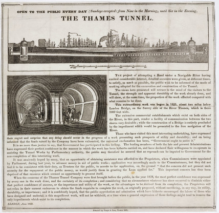 'The Thames Tunnel', London, 1832.
