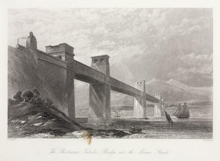 'The Britannia Tubular Bridge over the Menai Straits', Wales, c 1855.