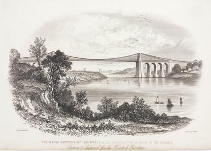 The Menai Suspension Bridge, Wales, c 1855.