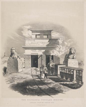 'The Britannia Tubular Bridge. Entrance from the Bangor Side', Wales, c 1848.