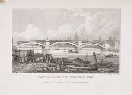 'Southwark Bridge, from Bank Side', London, 1827.