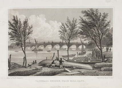 'Vauxhall Bridge, from Mill Bank', London, 1829.