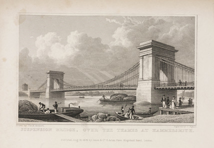 'Suspension Bridge, over the Thames at Hammersmith', London, 1828.