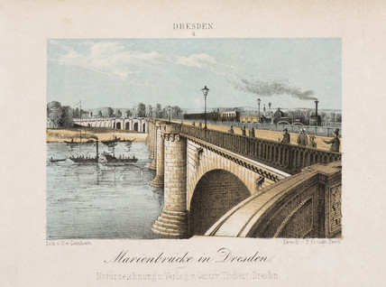 'Marienbrucke in Dresden', Germany, c 1840.