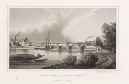 Railway bridge over the Elbe at Desau, Germany, c 1840.