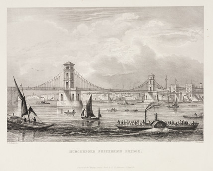 'Hungerford Suspension Bridge', London, c 1855.
