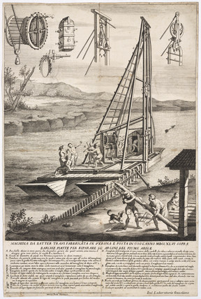 Water-borne pile-driver, 1746.