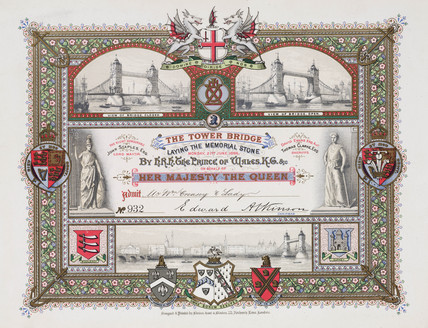 Admision ticket for the laying of the Memorial Stone, Tower Bridge, 1886.
