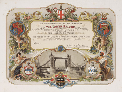 Invitation to the official opening of Tower Bridge, London, 1894.