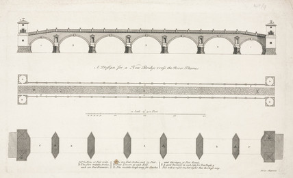 'A Design for a New Bridge cros the River Thames', Westminster, 1721.