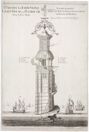 'A Prospect of Eddystone Lighthouse near Plymouth', Devon, c 1698.