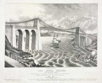 'The Menai Bridge', Wales, 1842.