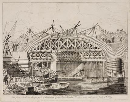 Building the New London Bridge, 7 July 1827.