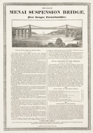 'The Grand Menai Suspension Bridge near Bangor, Carnarfonshire', 1826.