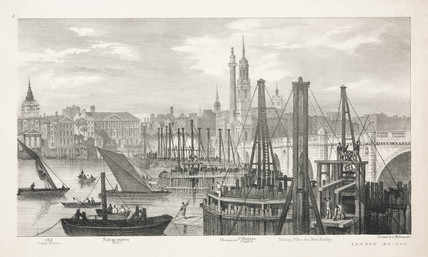 Driving piles for the new London Bridge, c 1827.