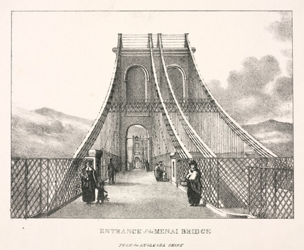 'Entrance of the Menai Bridge from the Anglesey Shore', Wales, 1820s.