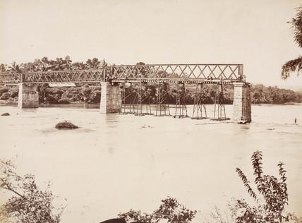 Constructing a railway viaduct, Ceylon, 1878-1883.