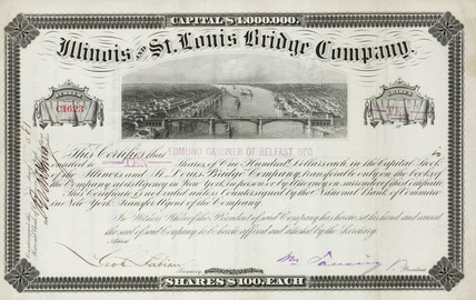 Share certificate of the Illinois & St Louis Bridge Company, 1881.