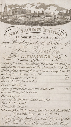 'New London Bridge, to consist of Five Arches', London, 1825.