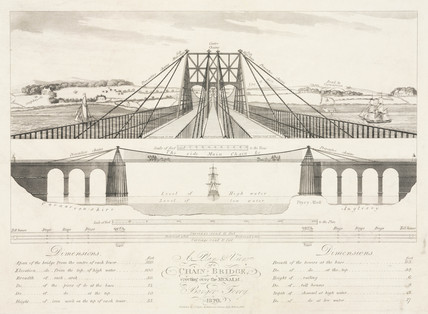 'A Plan & View of a Chain Bridge erecting over the Menai at Bangor Ferry', 1820.