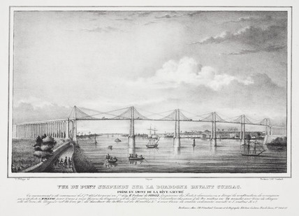 Suspension bridge over the Dordogne at Cubzac, France, 1840s.