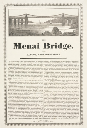 'The Menai Bridge near Bangor, Carnarvonshire', Wales, 1826.