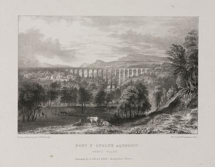 'Pont y Cyslte Aqueduct, North Wales', 1850s.