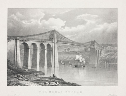 'The Menai Bridge', Wales, c 1830.