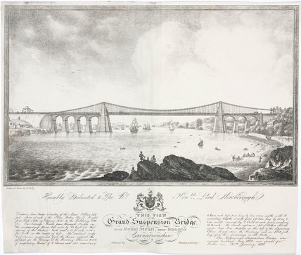 The Menai Bridge, Wales, c 1830.