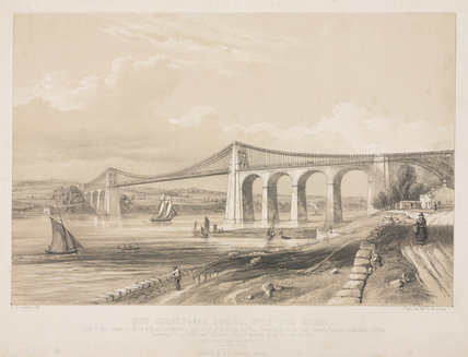'The Suspension Bridge over the Menai', Wales, c 1830.