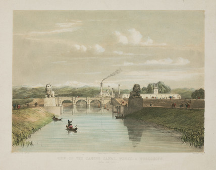 'View of the Ganges Canal, Works, & Workshops', India, 1853.