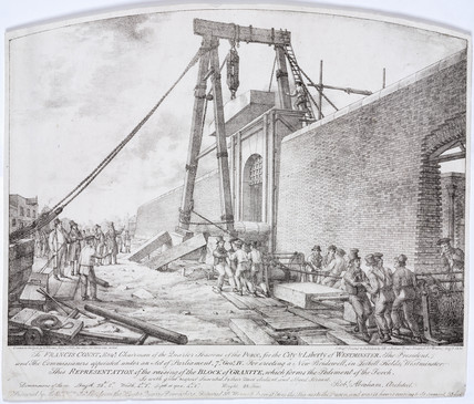 Construction of the new Bridewell, Tothill Fields, Westminster, London, 1833.