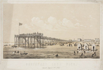 'Southport Iron Pier', Merseyside, 1860s.