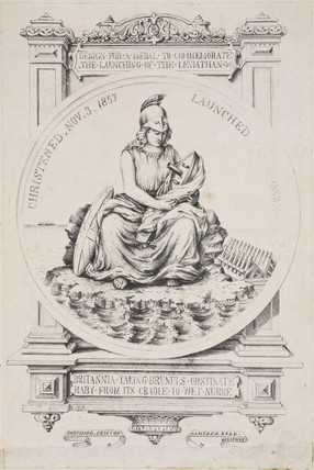 Design for a medal to commemorate the launch of the 'Great Eastern', 1858.