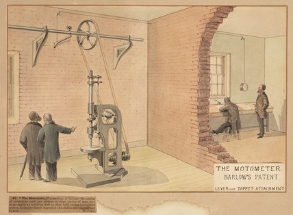 Barlow's patent 'motormeter' - lever & tappet attachment, 19th century.