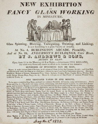 'New Exhibition of Fancy Glas Working in Miniature', 1 May 1820.