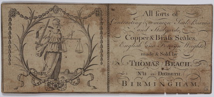Trade card of Thomas Beach, manufacturer of scales, c 18th century.