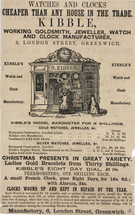 Trade card of R Kibble, watch and clock manufacturer, 19th century.