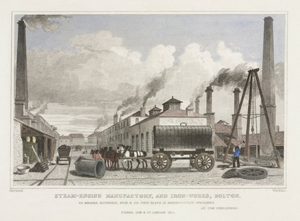 Steam-engine manufactory and iron-works, Bolton, Lancashire, 1832.
