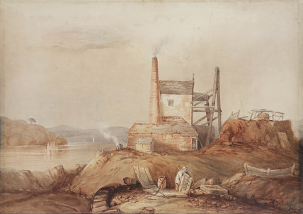 Engine house on the bank of the River Tamar, Cornwall, c 1840.