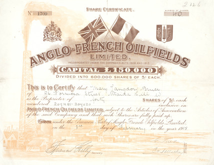 Share certificate for the Anglo-French Oilfield Ltd, 1915.