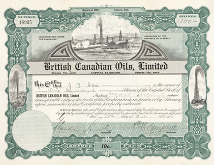 Share certificate for British Canadian Oils Ltd, 1915.