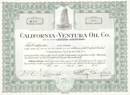 Share certificate of the California - Venture Oil Co,  2 April 1930.
