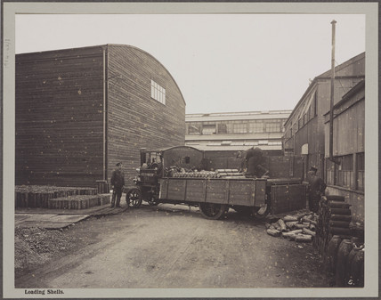 'Loading Shells at Cunard Munition Works', Liverpool, 1914-1918.