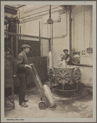 'Adjusting Nose Caps', Cunard Munition Works, Liverpool, 1914-1918.