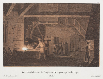 Interior of a forge on the Hoyaux near to Huy, Belgium, 19th century.