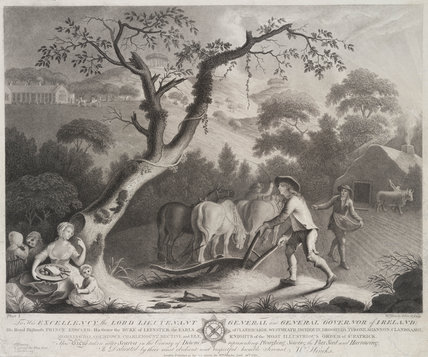 Horses ploughing a field, 1783.