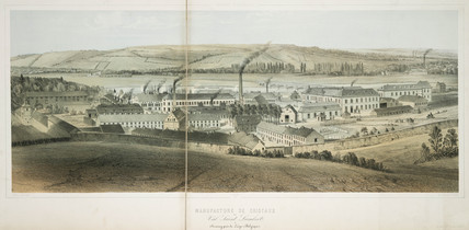 Val Saint Lambert glasworks at Seraing near Liege, Belgium, c 1830-1860.